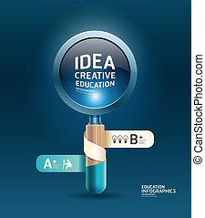 concept, zijn, gebruikt, illustratie, creatief, vector, /, mal, infographics, vergrootglas, banieren, spandoek, lint, groenteblik