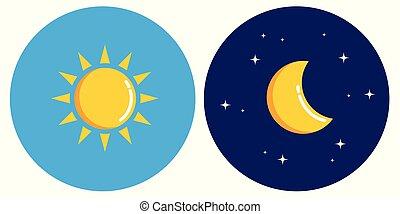 concept, zon, maan, nacht, cirkel, dag