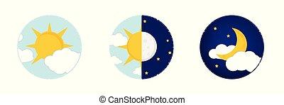 concept, zon, maan, nacht, dag, pictogram