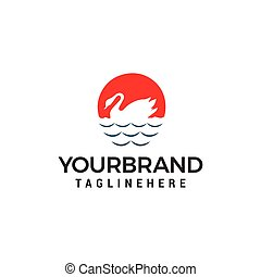 concept, zwaan, vector, ontwerp, mal, logo