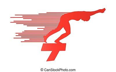 concept, zwemmer, sprong, vector, achtergrond, positie, beginnend blok