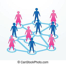 concepten, sociaal, networking