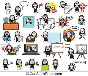concepten, vector, dame, illustraties, spotprent, non, karakter, -, gevarieerd, verzameling
