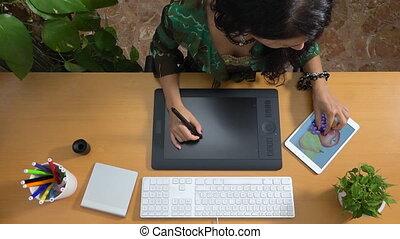 concepteur, art, tablette, peinture, créativité, graphique, technologie numérique, dessin