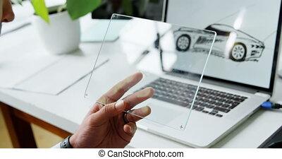 concepteur, bureau, tablette, voiture, verre, 4k, numérique, utilisation