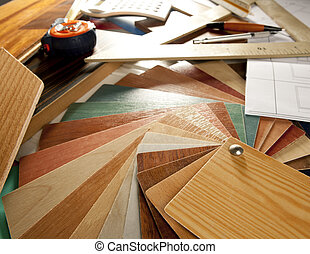 concepteur, charpentier, architecte, lieu travail, conception intérieur