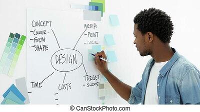 concepteur, concentrer, jeune, créatif