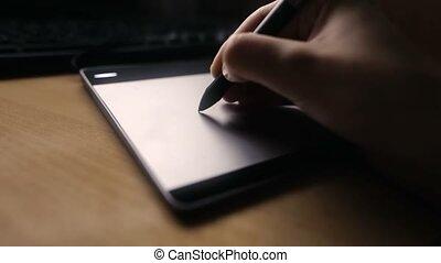concepteur, coup, tablette, fonctionnement, look., mains, tablette, foyer, cinematic, informatique, graphiques, doux, dessin, homme