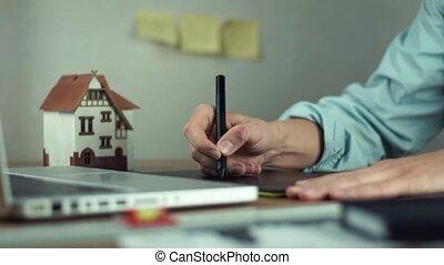 concepteur, créer, tablette, projet logement, graphique, portable utilisation