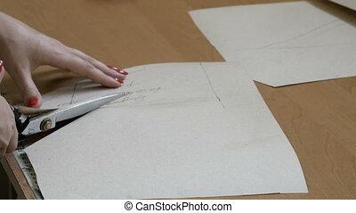 concepteur, elle, fonctionnement, coupures, modèle, couture, dresses., textile modèle, matériels, concevoir, confection, salle exposition, clothing.