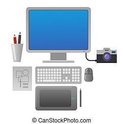 concepteur, endroit, travail
