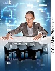 concepteur, fonctionnement, appartement, conception, futuriste,  3D