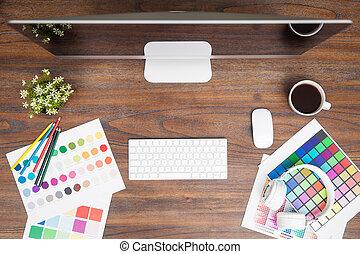concepteur, graphique, au-dessus, bureau