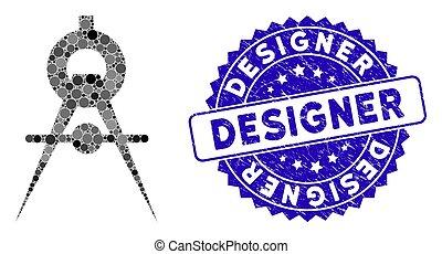 concepteur, icône, timbre, mosaïque, compas, textured