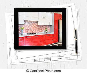 concepteur, informatique, lieu travail, tablette, numérique