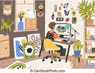 concepteur, moderne, informatique, femme, style., indépendant, créativité, créatif, home., plat, séance, processus, ouvrier, illustration, workplace., bureau, dessin animé, graphique, illustrateur, travail, vecteur, ou