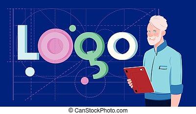 concepteur, mot, business, tablette, sur, créatif, formes, conception, fond, numérique, logo, géométrique, résumé, homme