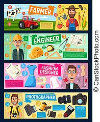concepteur, photographe, mode, ingénieur, paysan