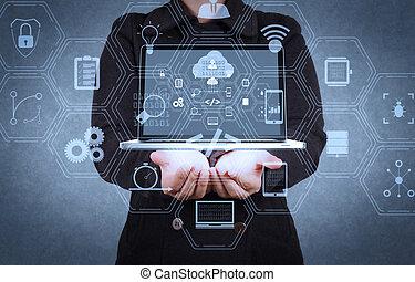 concepteur, réseau, exposition, signe, main, nuage