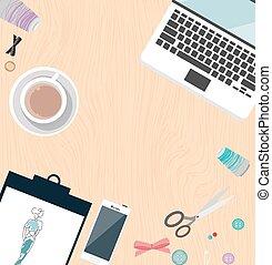 concepteur, sommet, couture, objet, tailleur, table, vêtements, mode, fabricant, icône