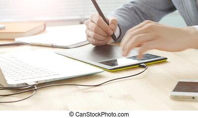 concepteur, tablette, bureau, créatif, fonctionnement, graphique