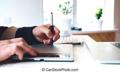 concepteur, tablette, fonctionnement, graphique, numérique, pen., dessin