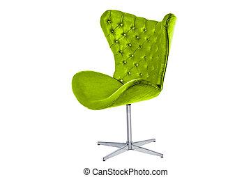 concepteur, velours, tissu, fauteuil, moderne, bois