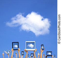 concept.hands, タブレット, 計算, ラップトップ, 電話, コンピュータ, パッド, 雲, 保有物,...