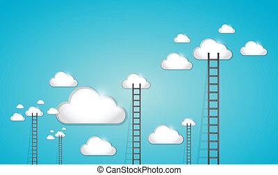 conception, échelle, nuages, illustration