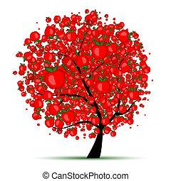 conception, énergie, arbre, pomme, ton