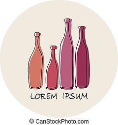 conception abstraite, bouteille, vin