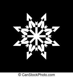 conception abstraite, flocon de neige, élément