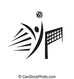 conception abstraite, volley-ball, vecteur, illustration, joueur, logo