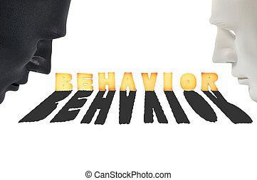 conception, aimer, masques, noir, humain, blanc, comportement