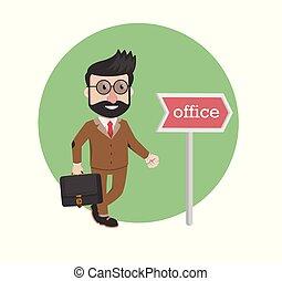 conception, aller, bureau, homme affaires, illustration