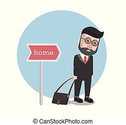 conception, aller maison, homme affaires, illustration