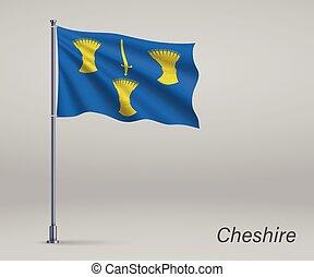 conception, angleterre, drapeau, flagpole., gabarit, -, indépendance, affiche, comté, onduler, cheshire, jour