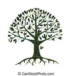 conception, arbre, ton, racines