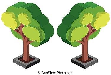 conception, arbre vert, 3d