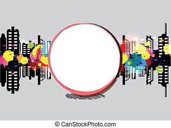 conception, art, bannière, urbain