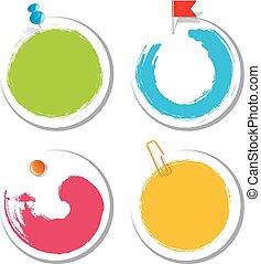 conception, autocollants, goutte, coloré