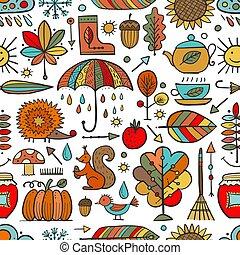 conception, automne, collection, seamless, ton, modèle