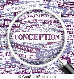 CONCEPTION. Background concept wordcloud illustration. Print...
