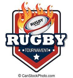conception, balle, rugby, flammes, étiquette