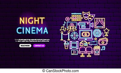 conception, bannière, néon, cinéma