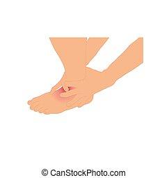 conception, because, cheville, ligament, graphiques, cheville, vecteur, illustration, blanc, tenue, fond, homme, blessé