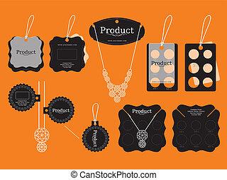 conception, bijouterie, étiquettes