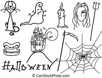 conception, blanc, éléments, halloween