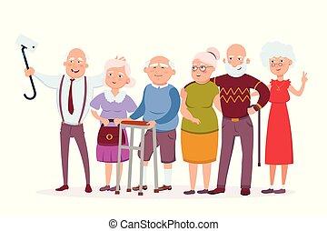 conception, blanc, personne agee, faire, vecteur, vieux, isolé, selfie, illustration, concept, gens, amusement, hommes, dessin animé, personnes agées, plat, rassemblement, characters., avoir, femmes, gai, ensemble, rigolote, hipsters