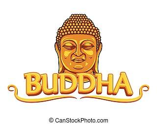 conception, bouddha, bannière, illustration